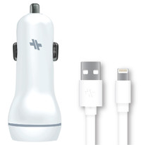 Swiss: Dual Port 3.4A Universal Car Charger with Lightning Cable (White)