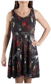 Harry Potter Muliticolor Symbols a Line Dress: M