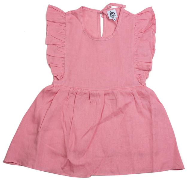 Cheeky Chimp: Linen Short Sleeved Dress - Dusty Pink (Size 7)