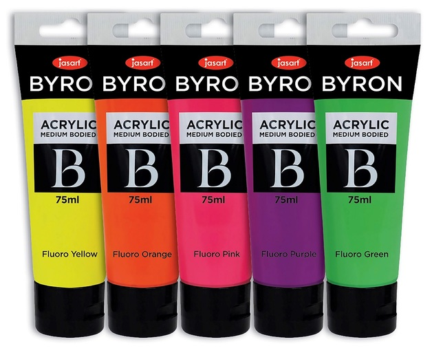 Jasart: Byron Acrylic Paint 75ml Fluoro - Set of 5