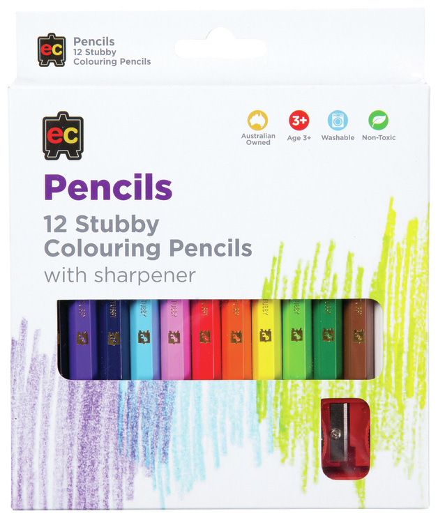 EC: Stubby Coloured Pencils With Sharpener (12 Pack)
