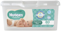 Huggies Baby Wipes Pop-Up Tub - Fragrance Free (80 Wipes) image