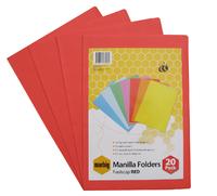 Marbig Foolscap Manilla Folders - Red (Pkt 20)