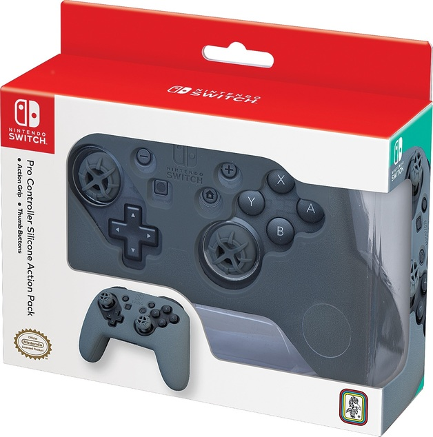 Nintendo Switch Pro Controller Action Grip & Thumb Buttons - Grey for Switch