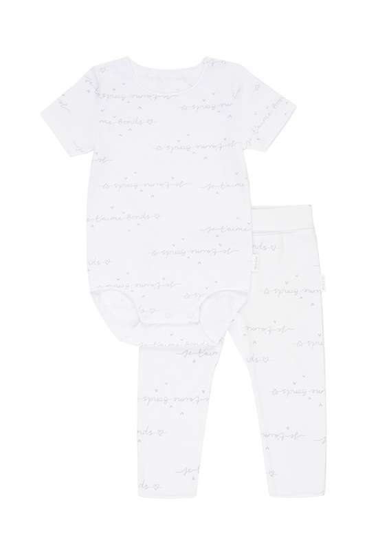 Bonds Newbies Everyday Short Sleeve Set - Je T'aime White/Grey (0-3 Months)