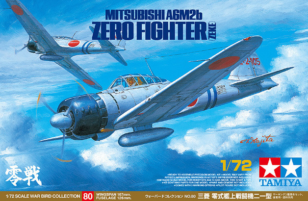 Tamiya Japanese Mitsubishi A6M2b ZEKE Zero Fighter 1/72 Aircraft Model Kit