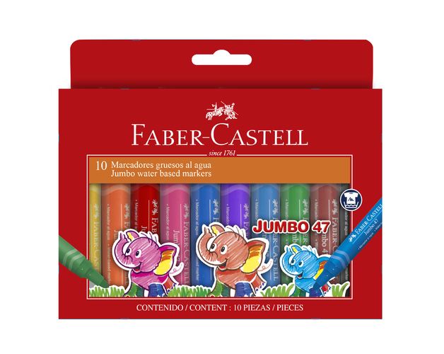 Faber-Castell:Jumbo Fibre Tip Markers - Wallet of 10
