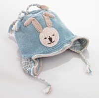 Pebble Bunny Motif Beanie with Earflaps - Blue (6-12 Months)