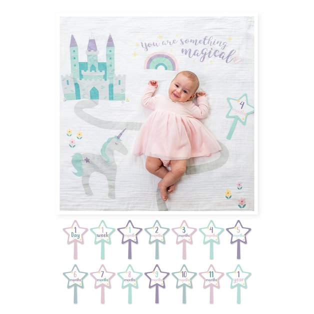 Lulujo's Baby First Year Milestone Blanket & Cards Set - Something Magical