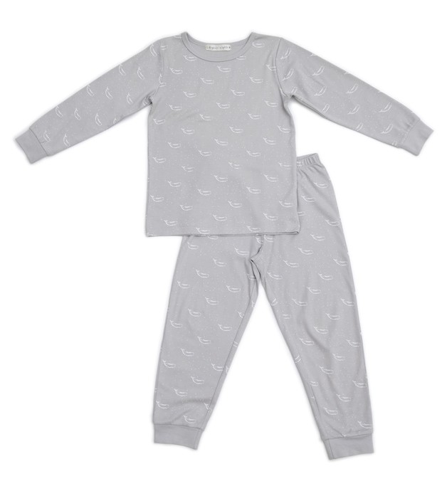 Organic Nights: Soft Grey Childrens Long Sleeve/Long Pants Pyjama Set - 10-11 years