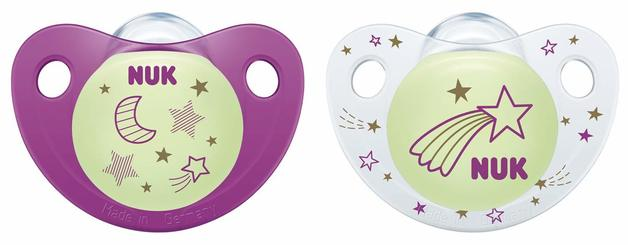 NUK: Glow in the Dark Soother - 0-6 Months (2 Pack) - Purple
