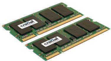Crucial 4GB kit (2GBx2) 200-pin SODIMM DDR2  PC2-5300 NON-ECC