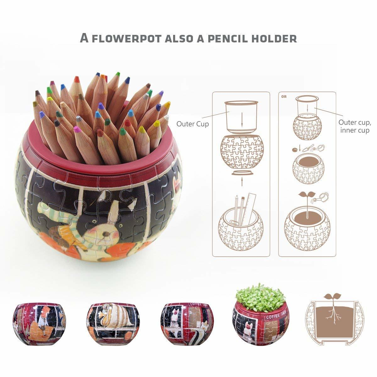 Pintoo: 80-Piece Puzzle Flower Pot - Cat's Playtime image