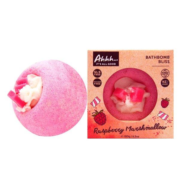 Ahhh Soaps Bath Bomb - Raspberry Marshmallow (180g)