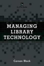 Managing Library Technology by Carson Block image