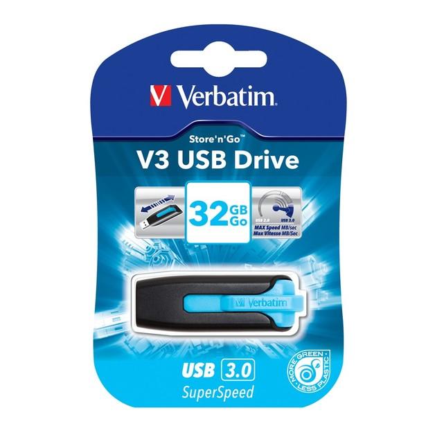 Verbatim Store'n'Go V3 USB 3.0 Drive - 32GB (Caribbean Blue)