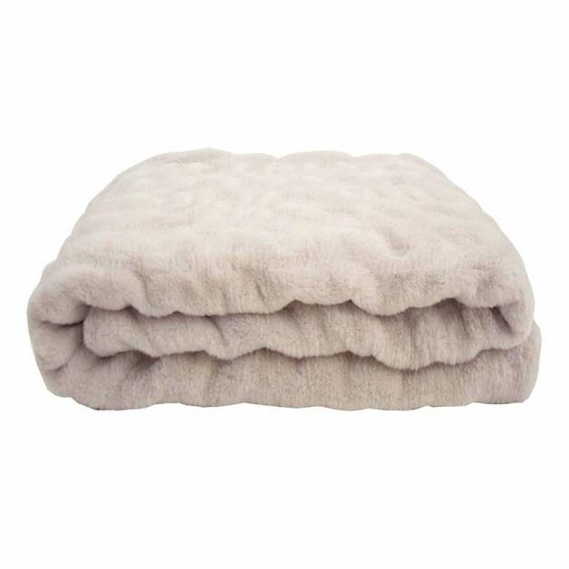 Bambury: Ripple Faux Fur Throw - Stone