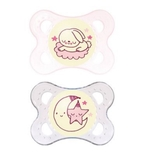 MAM Night Silicone Soother 0-4 Months - 2 Pack (Pink)