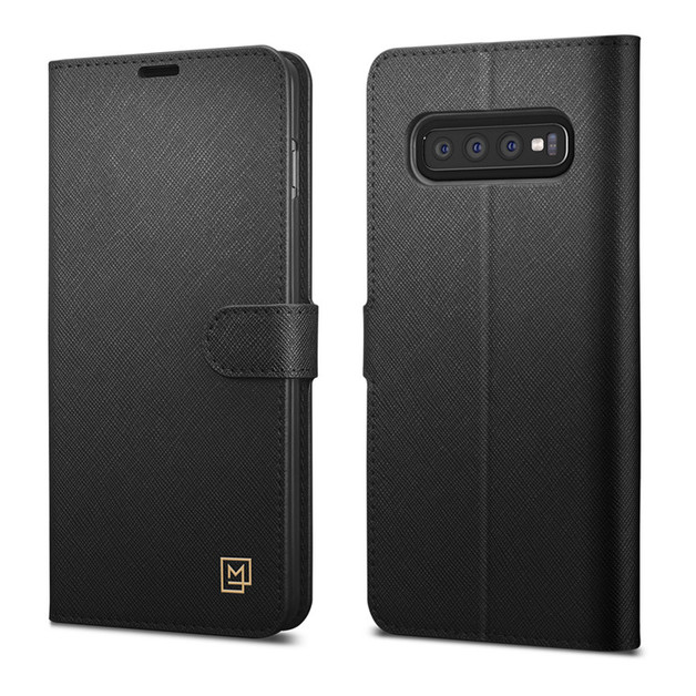 Spigen Galaxy S10 La Manon Premium Flip Wallet Case - Black
