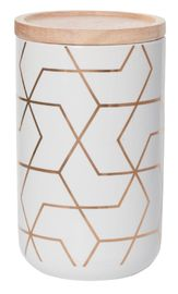 General Eclectic Tall Canister - Gold Hexagon