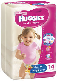 Huggies Ultra Dry Nappies - Junior Girl 16+kg (14)