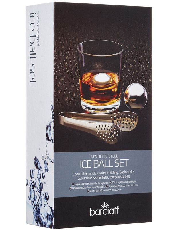 BarCraft: Ice Ball Set Stainless Steel - Gift Boxed (3pc)