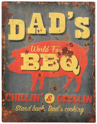 'Dad's BBQ' Embossed Metal Plaque - 40x30cm