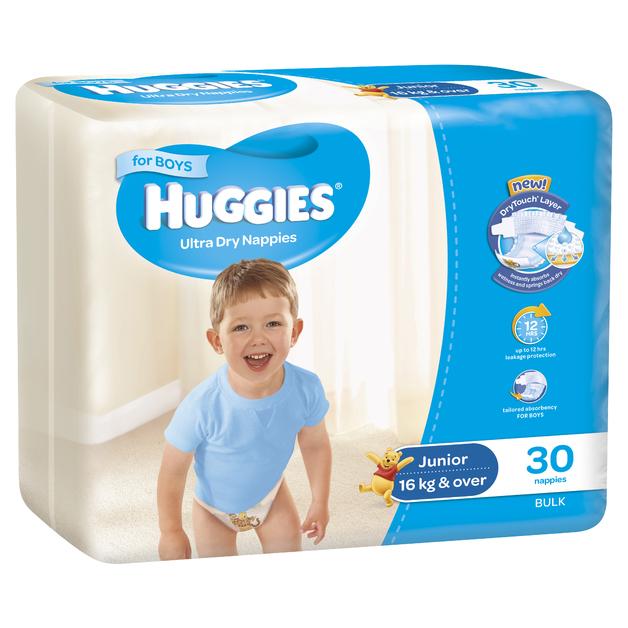Huggies Ultra Dry Nappies Bulk - Junior Boy 16+kg (30)