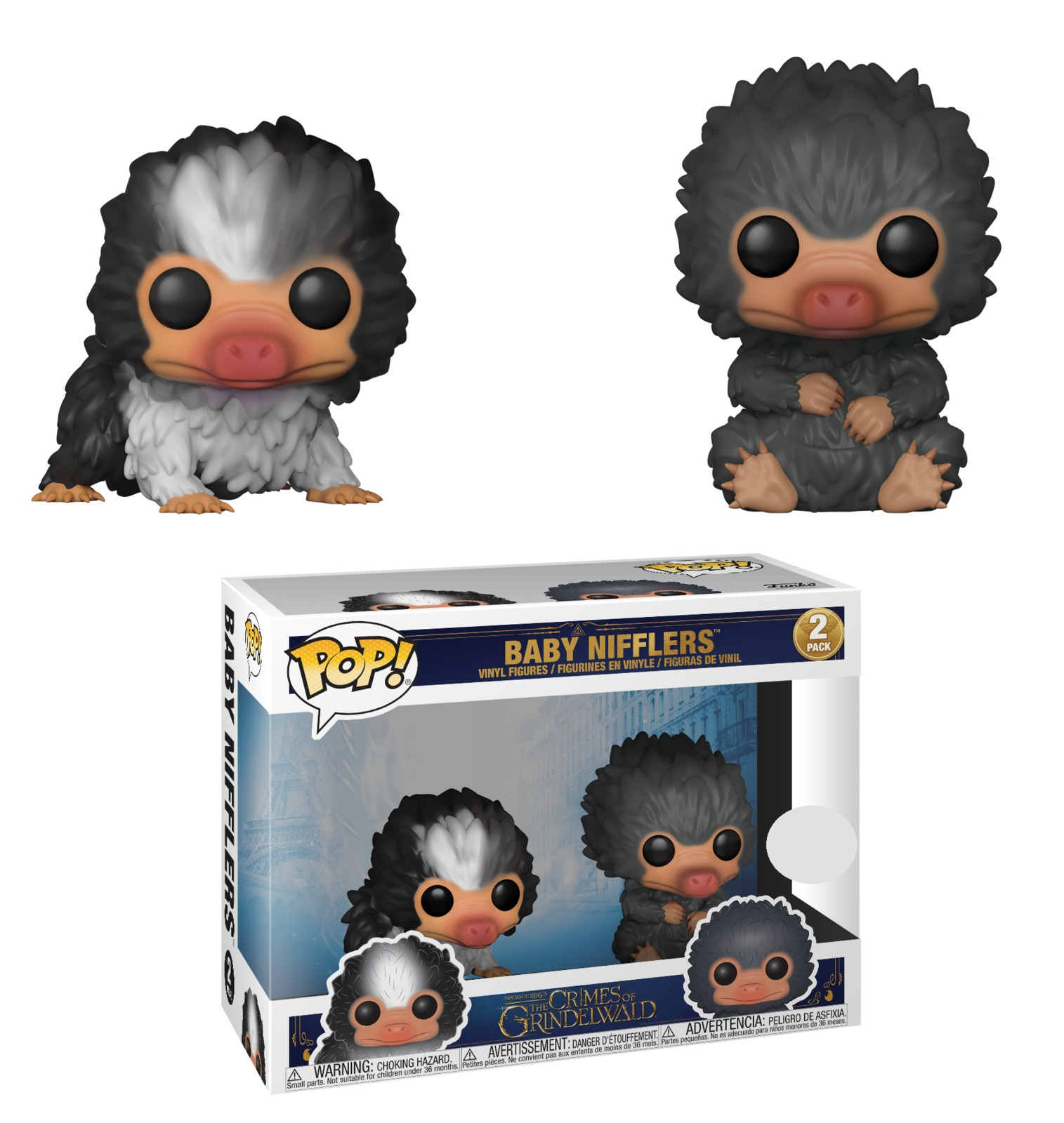 Fantastic Beasts 2 - Baby Nifflers (Black & Grey) Pop! Vinyl 2-Pack image