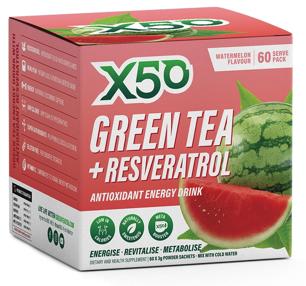 Green Tea X50 + Resveratrol - Watermelon (60 Sachets)