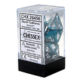 Chessex Gemini Polyhedral Dice Set steel-Teal/White