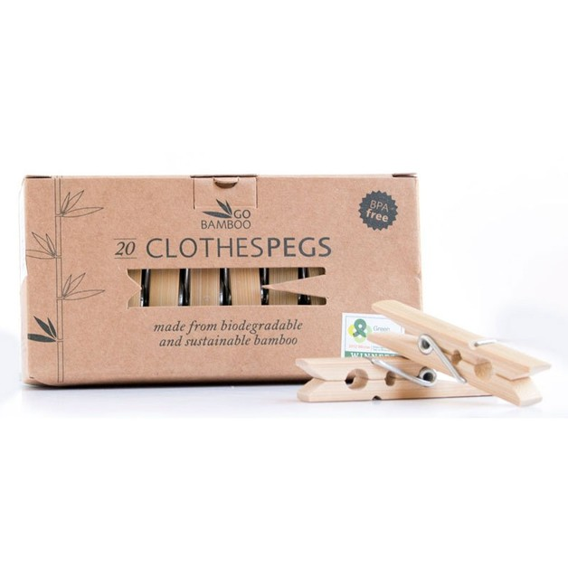 Bamboo Clothes Pegs - 7.2cm (20-Pack)