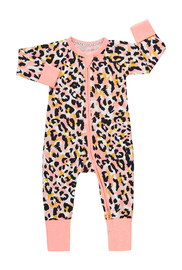 Bonds Zip Wondersuit Long Sleeve - Jungle Spot Lovebird (12-18 Months)