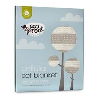 Eco Sprout: Cotton Cellular Breathable Cot Blanket - Natural/Dove Grey Stripe