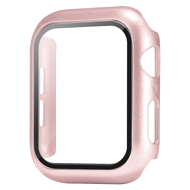 44mm Built-in Thin HD Tempered Glass Screen Apple Watch Protector Case - Rosegold