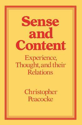 Sense and Content by Christopher Peacocke image