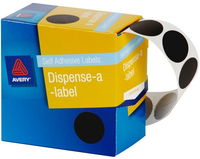 Avery Black 24mm Diameter Circle Dispenser Labels Pkt500