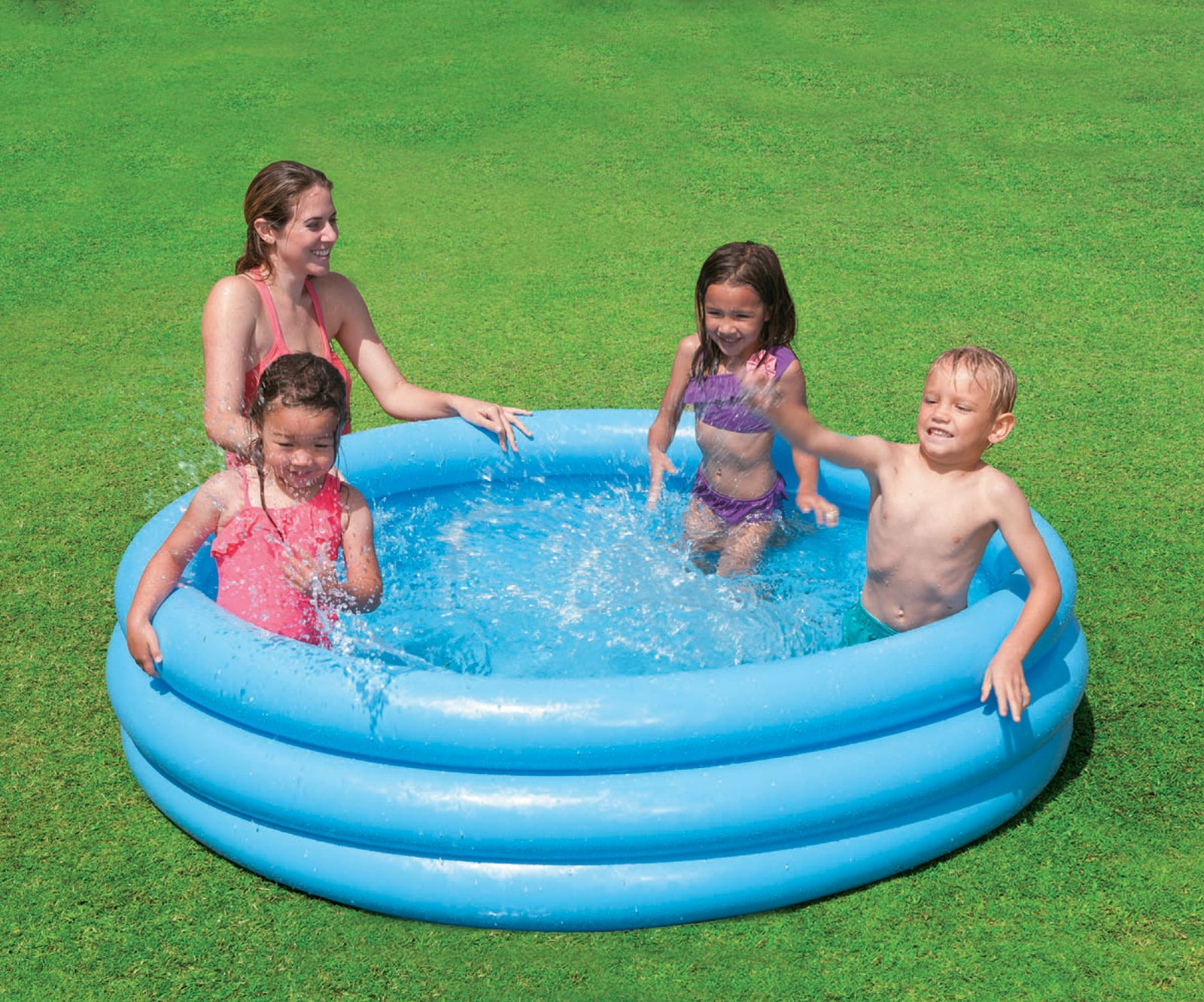 Intex 3 ring paddling pool crystal blue toy at mighty ape australia for Intex swimming pools australia