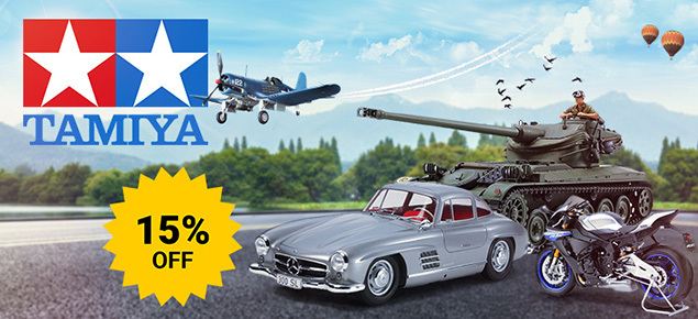 Save 15% off selected Tamiya Kits!