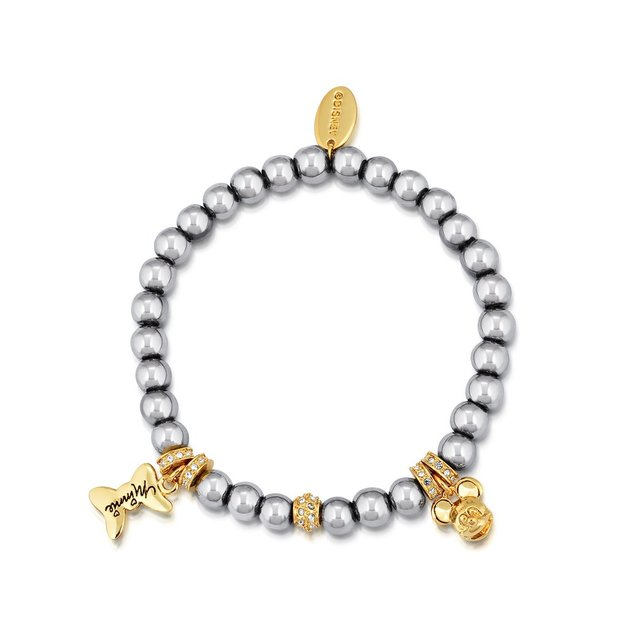 Couture Kingdom: Disney Minnie and Mickey Beaded Bracelet (Black pearl)
