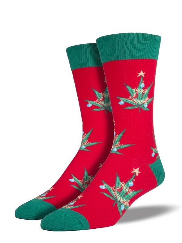 Socksmith: Mens Pot Lovers Xmas Christmas Crew Socks - Red