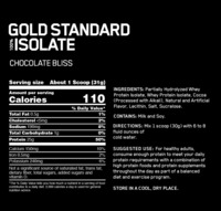 Optimum Nutrition: Gold Standard 100% Isolate - Chocolate Bliss (720g) image