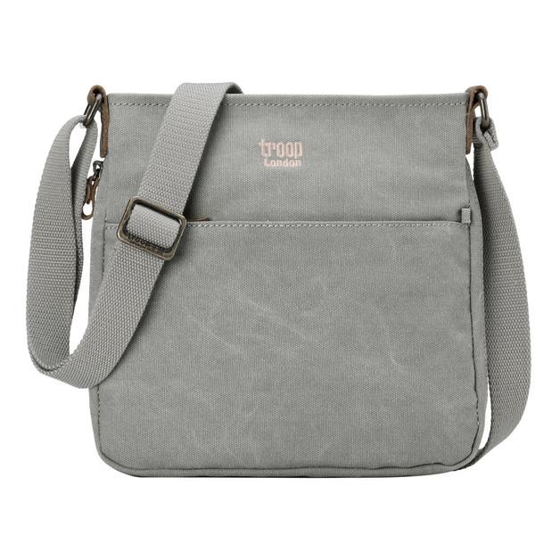 Troop London: Classic Small Zip Top Shoulder Bag - Ash Grey