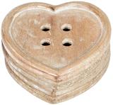 Heart Button - Wood Coaster Set