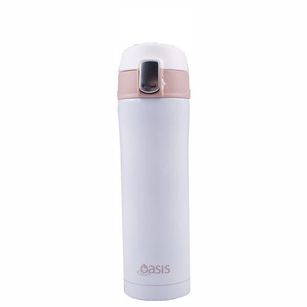 Oasis Flip-Top Vacuum Flask - White (420ml)