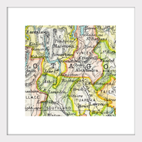Otago Vintage Map Print - Framed