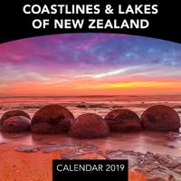 Coastlines & Lakes of New Zealand 2019 Mini Wall Calendar