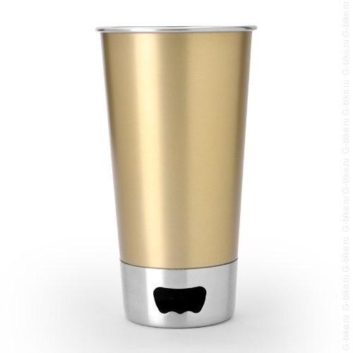 Asobu Stainless Steel Beer Cup + Opener (Champagne)