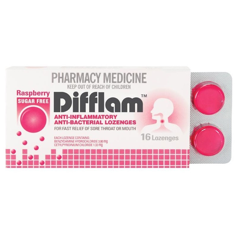 Difflam Lozenges - Sugarfree Raspberry (16's) image