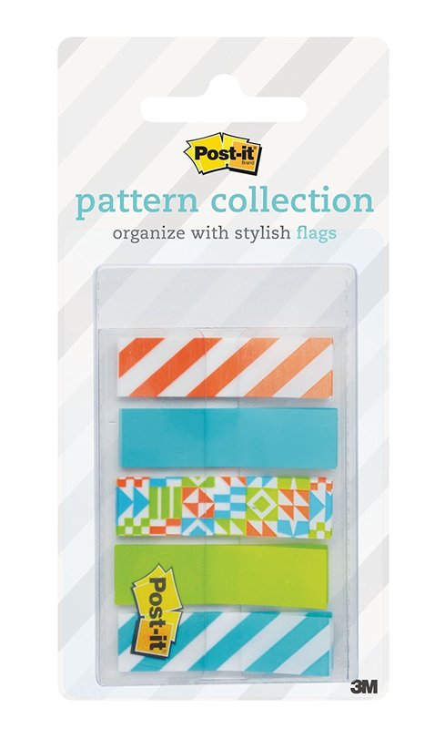 Post-it Pattern Flags 12mm x 43mm On-the-Go Dispenser Pack - Geos (100 Pack)